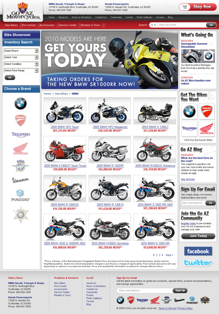 GoAZ Motorcycles Website