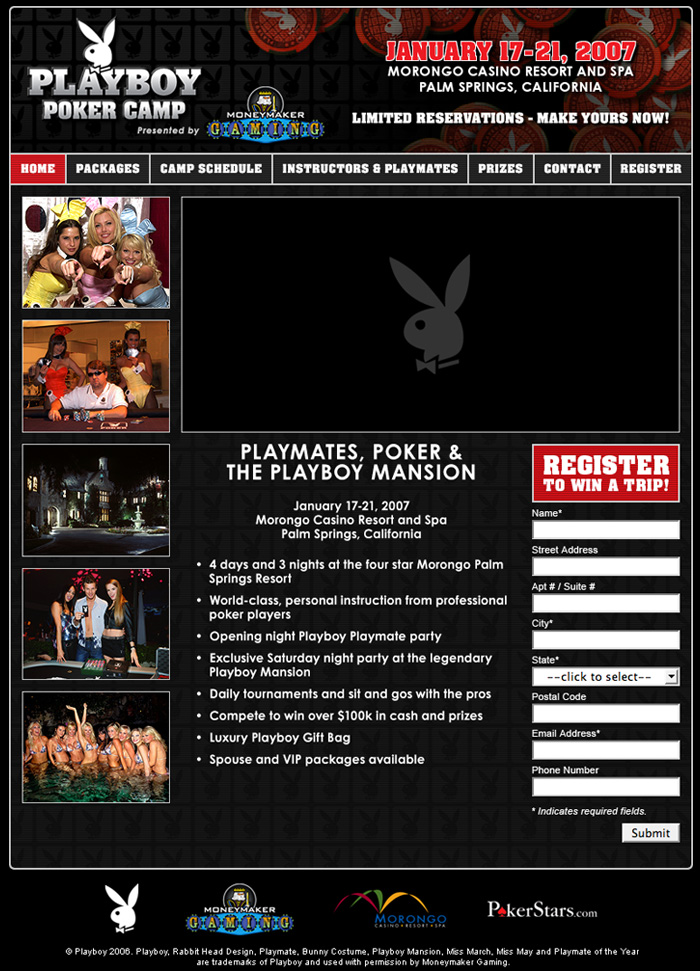 Playboy Poker Camp Website