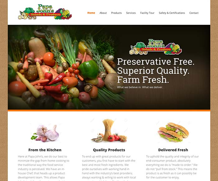 Papa John's Salads & Produce Website